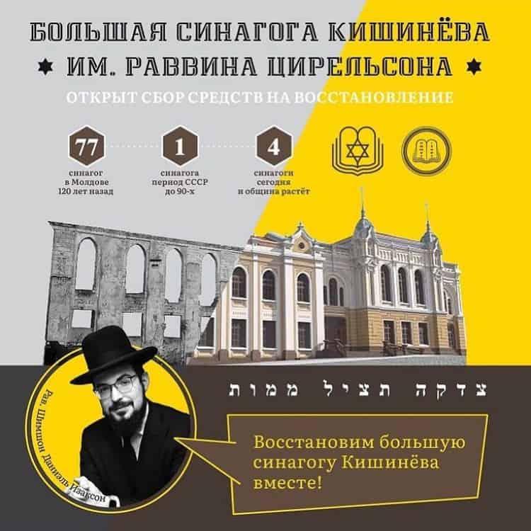 Восстановление большой синагоги Кишинева, им. раввина Цирельсона